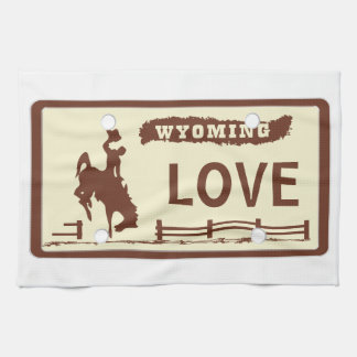 Wyoming License Plate Kitchen Towels