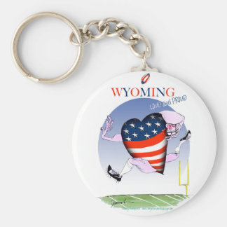 Wyoming loud and proud, tony fernandes basic round button keychain