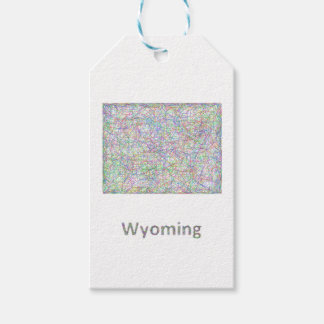 Wyoming map pack of gift tags