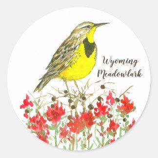 Wyoming Meadowlark Songbird Wildflowers Classic Round Sticker