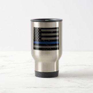 Wyoming Police & Law Enforcement Thin Blue Line Travel Mug