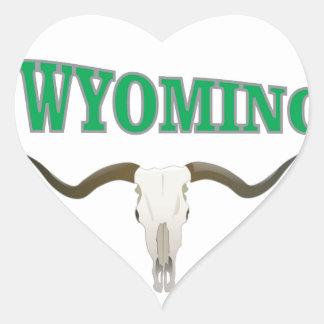 Wyoming skull heart sticker