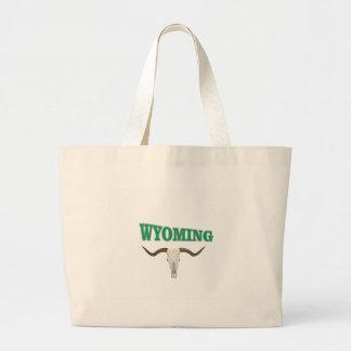 Wyoming skull large tote bag