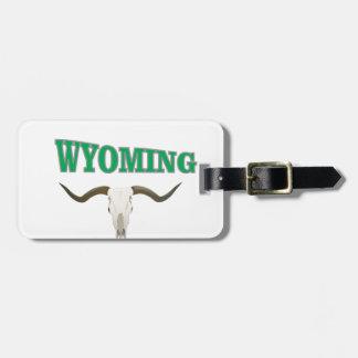 Wyoming skull luggage tag