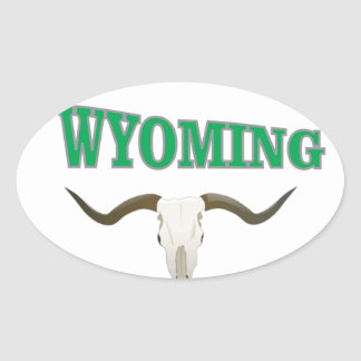 Wyoming skull oval sticker