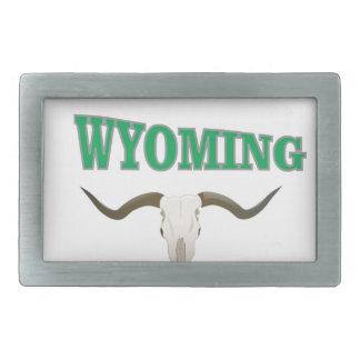 Wyoming skull rectangular belt buckle