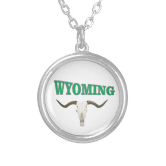 Wyoming skull silver plated necklace