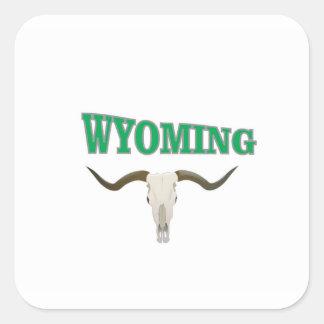 Wyoming skull square sticker