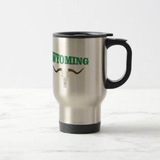 Wyoming skull travel mug