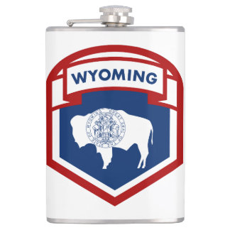 Wyoming State Flag Crest Shield Style Hip Flask