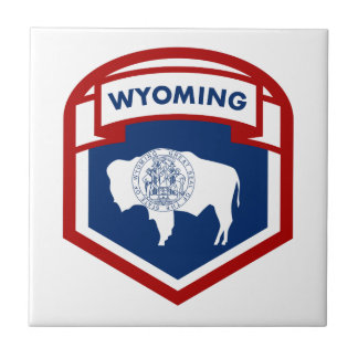Wyoming State Flag Crest Shield Style Tile
