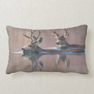 Wyoming, Sublette County, Mule deer bucks Lumbar Pillow