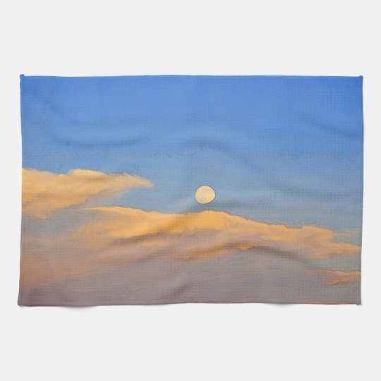Wyoming Super Moon Landscape Kitchen Towel