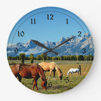 Wyoming, Teton Mountains, with Horses Grazing Large Clock