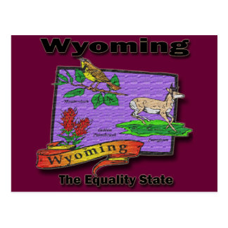 Wyoming The Equality State Bird Dear Bush Postcard