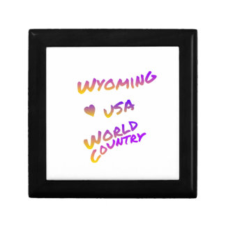 Wyoming usa world country, colorful text art jewelry boxes