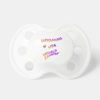 Wyoming usa world country, colorful text art pacifier
