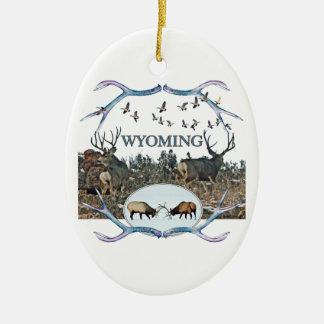 WYOMING wildlife Ceramic Ornament