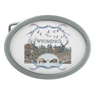 WYOMING wildlife Oval Belt Buckles