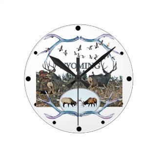 WYOMING wildlife Round Clock