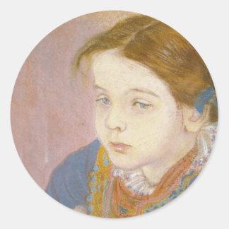 Wyspianski Helenka in Folk Costume 1901 Round Stickers