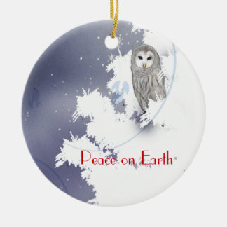 X003_Winter Owl, Peace on Earth Round Ceramic Ornament