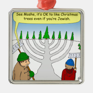 x04 You can enjoy Christmas even if you are Jewish Silver-Colored Square Ornament
