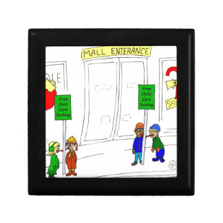 x09 Child care parking at mall cartoon Gift Box
