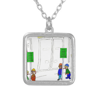 x09 Child care parking at mall cartoon Silver Plated Necklace