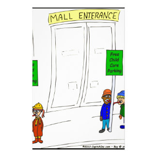 x09 Child care parking at mall cartoon Stationery