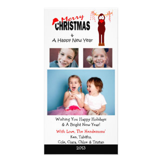 X4 Reindeer Candy Canes Christmas Cards Photo Greeting Card