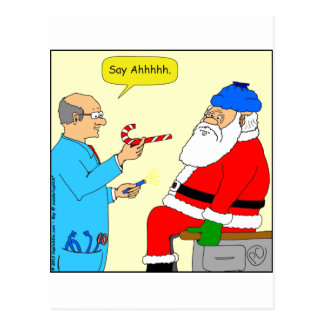 x85 Santa say ahhh Cartoon Postcard