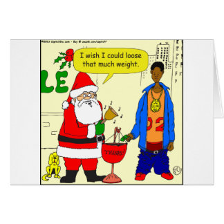 x91 Santa wishes he could loose weight cartoon Card