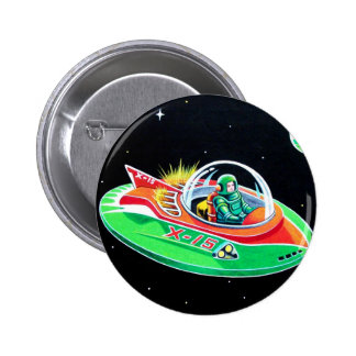 X-15 FLYING SAUCER 2 INCH ROUND BUTTON