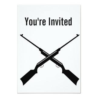 X guns rifle shotgun party invite card