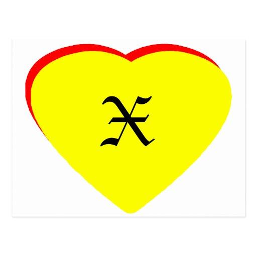 """X"" Heart Yellow Red Wedding Invitation The MUSEUM Postcard"