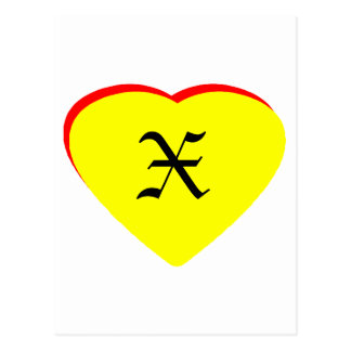 """""""X"""" Heart Yellow Red Wedding Invitation The MUSEUM Post Card"""