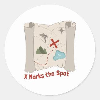 X Marks Spot Round Sticker