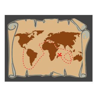 X Marks The Spot - Treasure Map Postcard