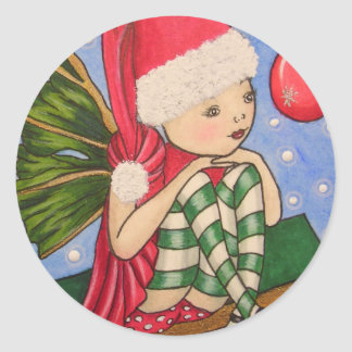 X-Mas Elf Round Sticker