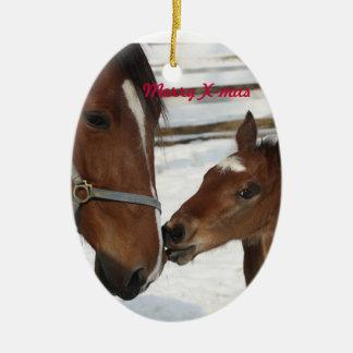 X-mas ornament/mare & foal ceramic ornament