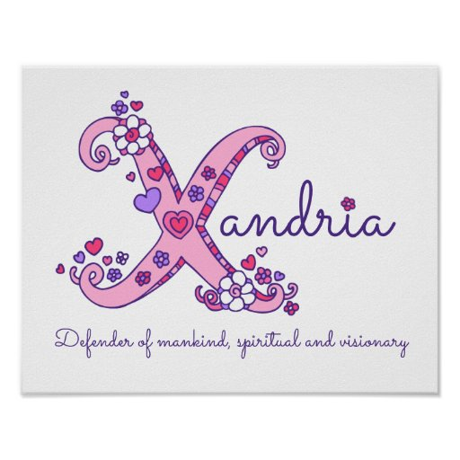 X monogram art Xandria girls name meaning poster