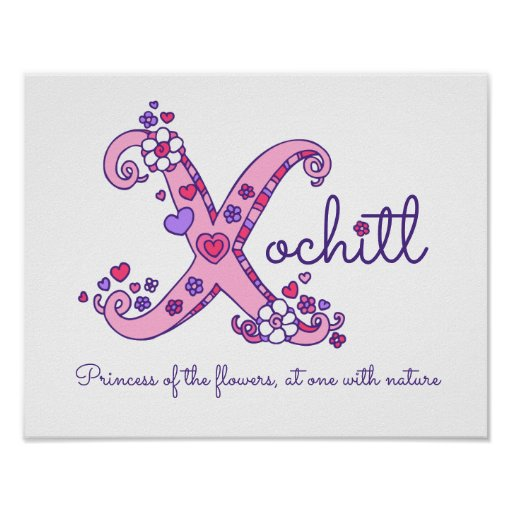 X monogram art Xochitl girls name meaning poster