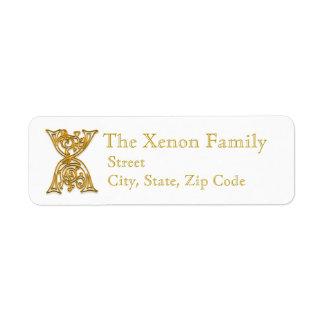 "X Monogram ""Irish Gold"" design Address Lables Return Address Label"