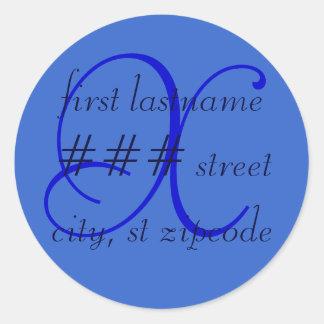 """X"" monogram return address label - personalize"