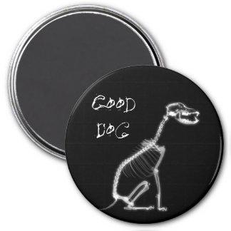X-RAY GOOD DOG SKELETON SITTING - B&W 3 INCH ROUND MAGNET