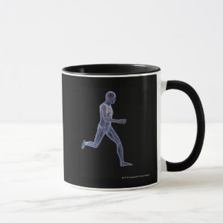 X-ray of the vascular system in a running man mug