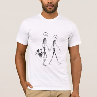 X-Ray Skeleton Couple Travelling - Black & White T-Shirt
