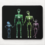 X-RAY SKELETON FAMILY OF 4 ORIGINAL COLORS MOUSE PAD