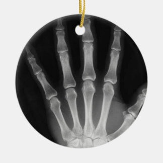 X-RAY SKELETON HAND FINGERS B&W CERAMIC ORNAMENT